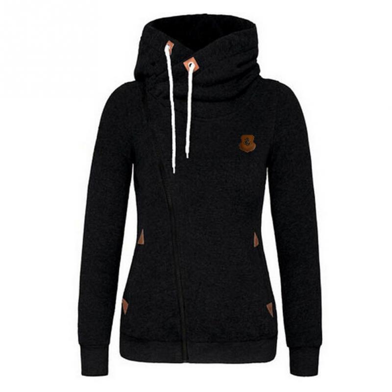 Women Winter Autumn Fashion Casual Warm Long Sleeve Solid Cotton Blend Patchwork Zipper Hoodies Coat Side Zipper Sweatshirts