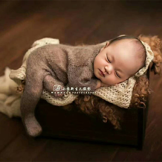 Newborn mohair romper Crochet baby hat and hooded romper Knit mohair footed sets  Newborn bonnet photography 4f6cf3224029