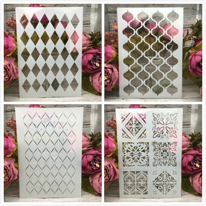 4Pcs/Lot A4 Geometry Square Texture DIY Layering Stencils Painting Scrapbook Coloring Embossing Album Decorative Card Template