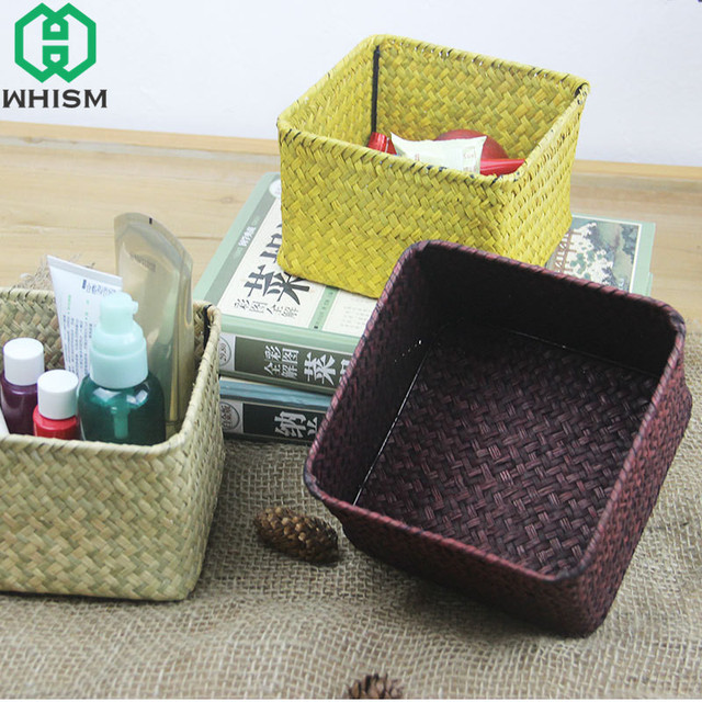 WHISM Natural Handmade Storage Basket Woven Straw Storage Boxes Office  Remote Control Container Desktop Wicker Storage