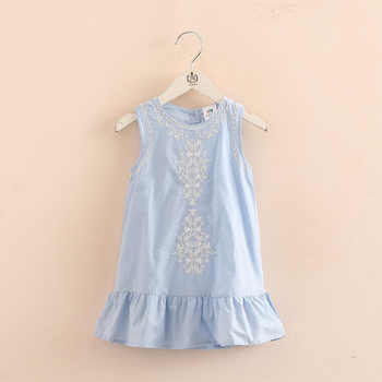 2018 Hot Summer 2-10 Years Old Brief Kids Lace Embroidery Flower Floral Sleeveless Flounce Vest Tank Sundress Girls Dress Cotton
