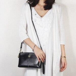 Image 2 - Zency 100% Genuine Leather Retro Women Messenger Purse Day Clutches Fashion Lady Shoulder Crossbody Bags Black Brown Handbag