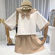 дешево!  Опрятный стиль женские 2 шт. Наборы модные комплекты для женщин топы + мини-юбки с круглым вырезом