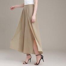 2017 Nuevo diseño sexy side dividir las mujeres pantalones de gasa de verano elegante de cintura alta para mujer pantalones de gasa de pierna ancha suelta
