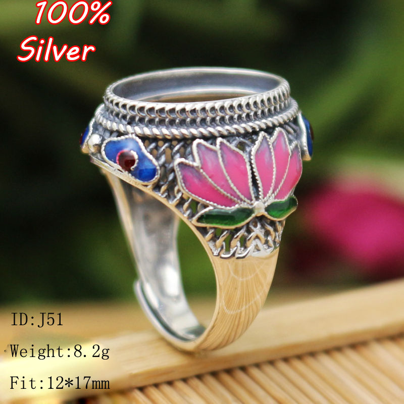 TOP 100% 925 Sterling Silver Ring Blank Jewelry Fit Oval 12*17mm Royal Cloisonne Vintage Ring Base for women DIY Handmade vintage oval carved ring for women