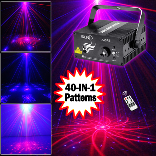 SUNY 3 Lens 40 Patterns RB Mini Laser Light Show Blue LED Stage Lighting Effect Home Party DJ Disco Light With Remote 3 lens 36 patterns rg blue mini led stage laser lighting professinal dj light red gree blue