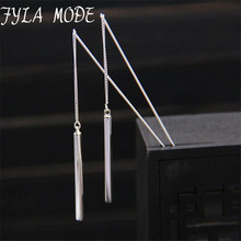 Fyla Mode S925 Sterling Silver 30MM Long Earline Temperament Ear Drop Simple Jewelry And Delicate Style For Woman TYC1731