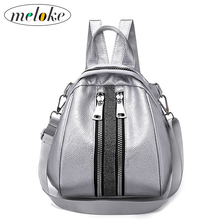 Купить с кэшбэком Meloke 2018 new school bags student pu backpack female Silver bag large size backpack for girls travel bags drop shipping M138