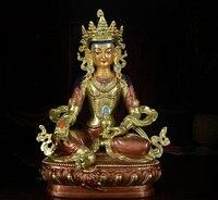 8 23 см 2018 домашняя семья эффективная защита Тибетский буддизм позолота Ksitigarbha Bodhisattva Dizang pusa статуэтка Будды из латуни