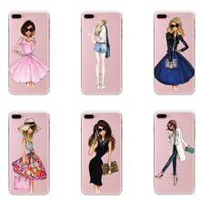 Fashion Dress Pretty Girl Transparent Silicone Soft TPU Painted Phone Cases For iPhone 5 5S SE 6 6S Plus 7 Case Cover Coque