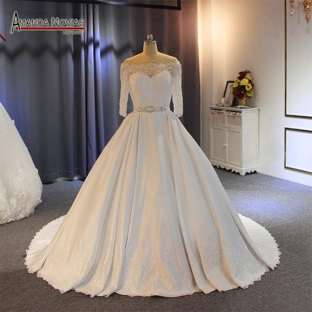 Vestido דה noiva 2019 באיכות גבוהה עם מחיר טוב אמיתי עבודה סאטן חתונה שמלה