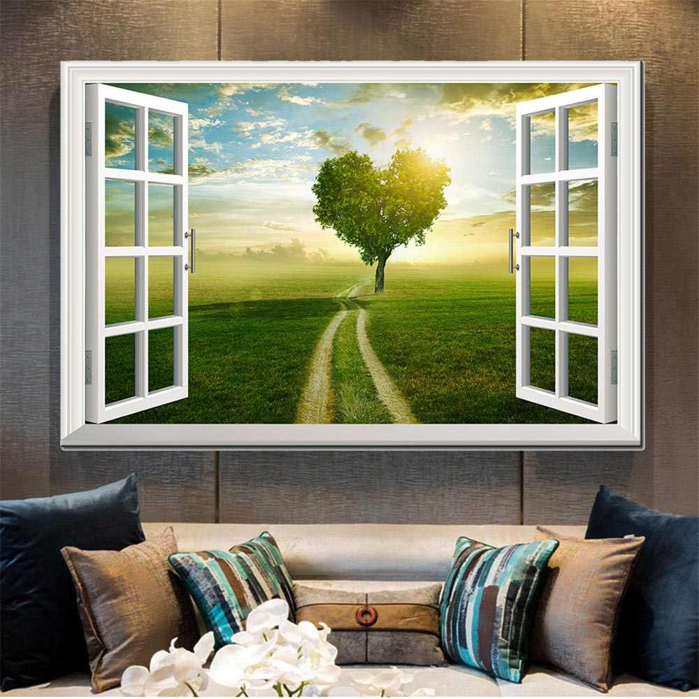 Modern Canvas Print Wall Art Poster Window Frame Style Wall Decor Painting Natural Landscape Wall Picture for Bedroom Home Decor