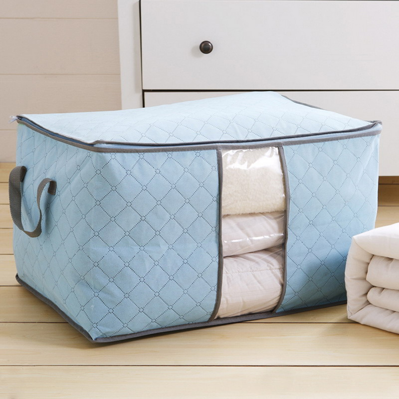 Portable Durable Cloth Container Organizer Non Woven Underbed Pouch Storage Bag Box Bamboo For Clothing