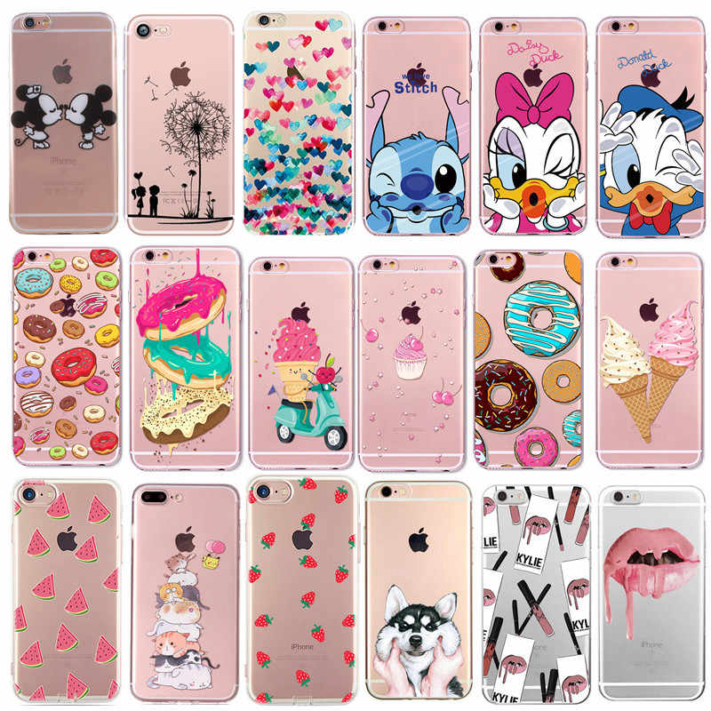 Phone Case For Fundas iPhone 7 8 Plus XS X Transparent Cute Cartoon Soft Cover For Apple iPhone X 6 6S 5S 5 SE Silicone Coque