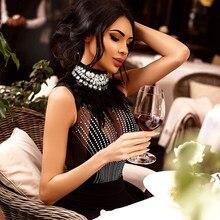 90ee7f15bc4 Adyce 2019 New Women Bandage Dress Sleeveless Black Feather Bead Club Dress  Vestido Luxury Diamond Celebrity