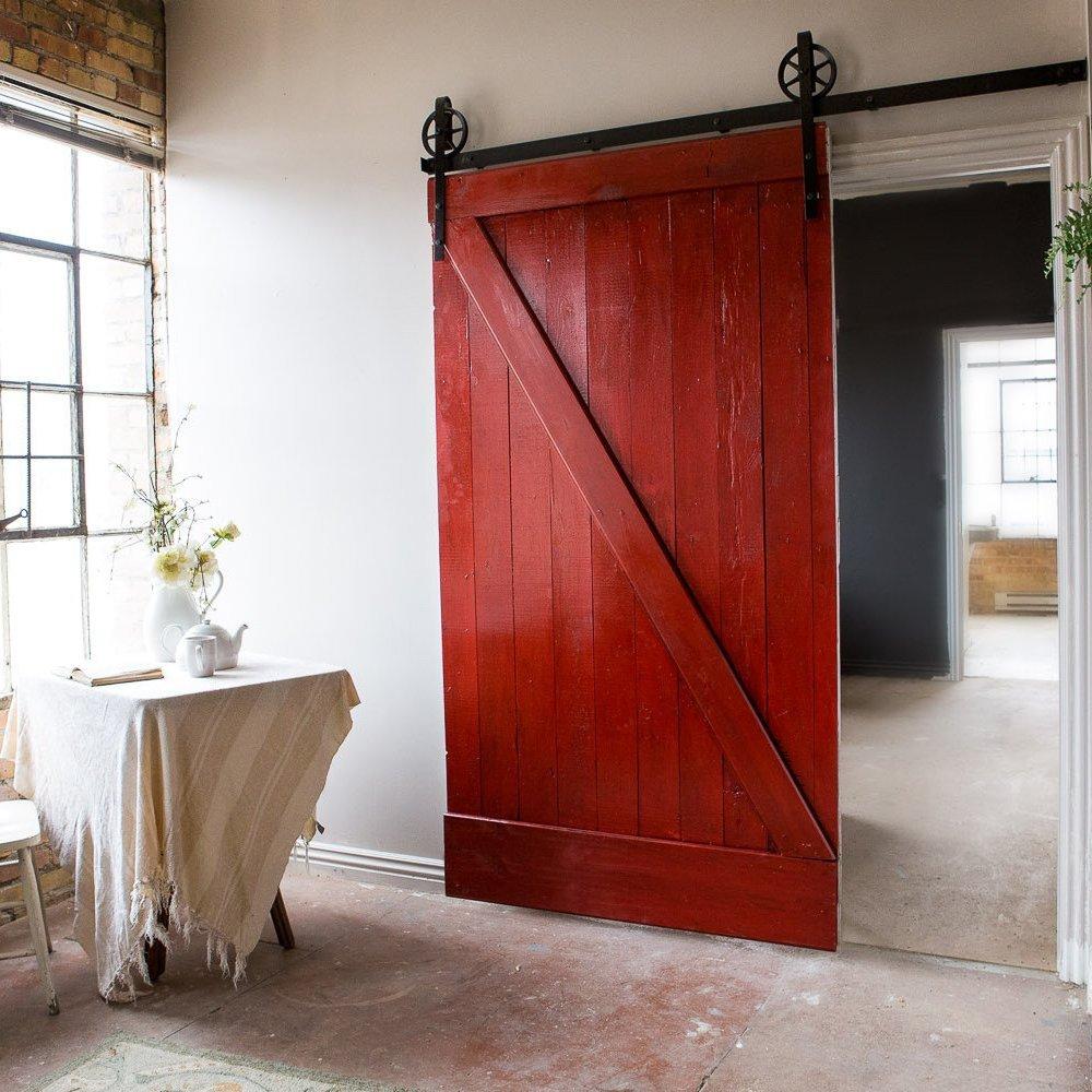 1500 3050mm Vintage Black Steel Single Barn Door Wood Hardware Roller Track Indoor Antique Sliding