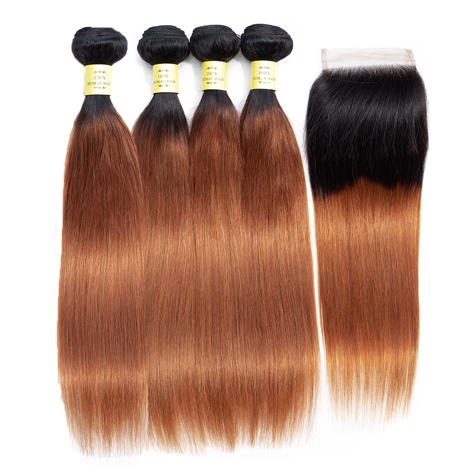 QueenLike 100 Human Hair Weft 3 4 Straight Hair Ombre Bundles With Closure Non Remy Brazilian
