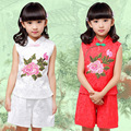 Cotton Chinese Tang Suit Embroidered Peony Pattern for Kids Set Summer Party Girls Clothes