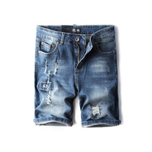 Summer Fashion Mens Jeans Shorts Blue Color Destroyed Elatsic Short Ripped Jeans For Men Denim Shorts DSEL Brand Casual Shorts dsel brand men s jeans high quality blue color denim stripe jeans mens pants buttons destroyed ripped jeans for men biker jeans