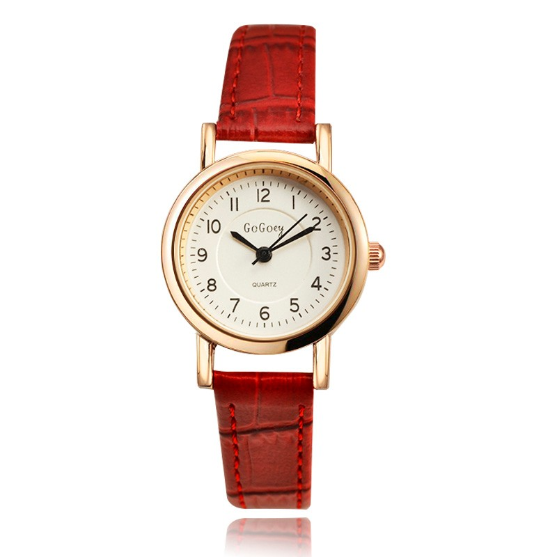 Women Watch Luxury Fashion Brand Gogoey Leather Watches Ladies Casual Fashion Red Watches relogios femininos relojes mujer saat