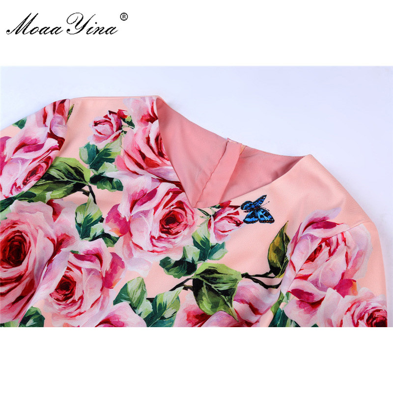 MoaaYina 2018 Fashion Designer Runway Dress Summer Women Short sleeve V collar Rose Floral Print Casual Holiday Elegant Dress-in Dresses from Women's Clothing    3