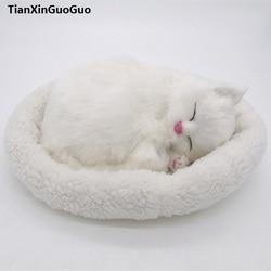 Große 26x17 cm weiß schlafende katze harte modell polyethylen & pelze atmen katze prop, dekoration spielzeug geschenk s1810