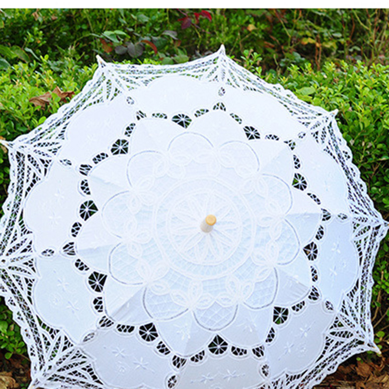 Ücretsiz Kargo Dantel Manuel Açılış Düğün Şemsiye Gelin - Düğün Aksesuarları - Fotoğraf 3
