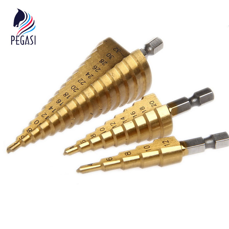 PEGASI 3pc Hss Step Cone Taper Drill Bit Set Metal Plastic Hole Cutter Metric 4-12/20/32mm 1/4 Titanium Coated Metal Hex Taper 4 20mm hex drills taper power tools step drill bit metal hss steel cone step drill sharpening hole countersink tools bit