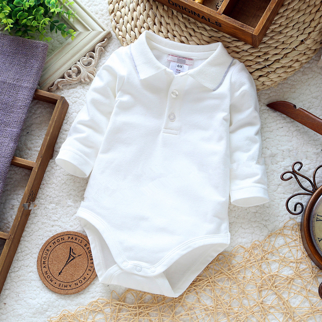 2015 autumn New arrival newborn baby white turn-down collar long-sleeve  bodysuits summer infant boys and girls pajamas clothes