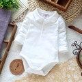 2015 outono Nova chegada do bebê recém-nascido branco turn-down collar longo-luva bodysuits infantis de verão meninos e meninas pijamas roupa