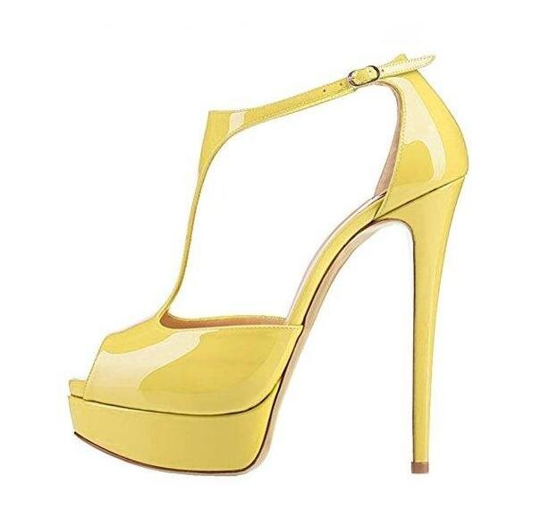 T Bar Platform Pumps Peep Toe Cut Out Super High Sandals Patent Leather Water Proof Runway Dress Party Shoes 2019 Summer Shoes in Women 39 s Pumps from Shoes