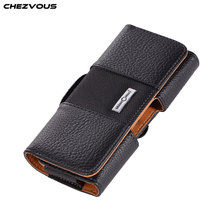 CHEZVOUS 3.5~5.7 inch Universal Phone Case Belt Clip Leather Bag Cover for iPhone X 7 8 6 6s Plus 5 4s for Samsung S9 S8 plus