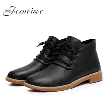 2017 New Genuine Leather Women Boots Square Heel Lace up Soft Cowhide Women's Shoes Handmade Ankle Boots Dimension34-41 zapatos mujer