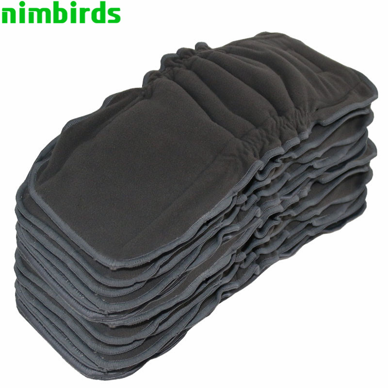 Washable Reusable Bamboo Charcoal Insert Double Leg Gusset Baby Cloth Diaper Nappy, 5 Layer Each Charcoal  Insert For Baby