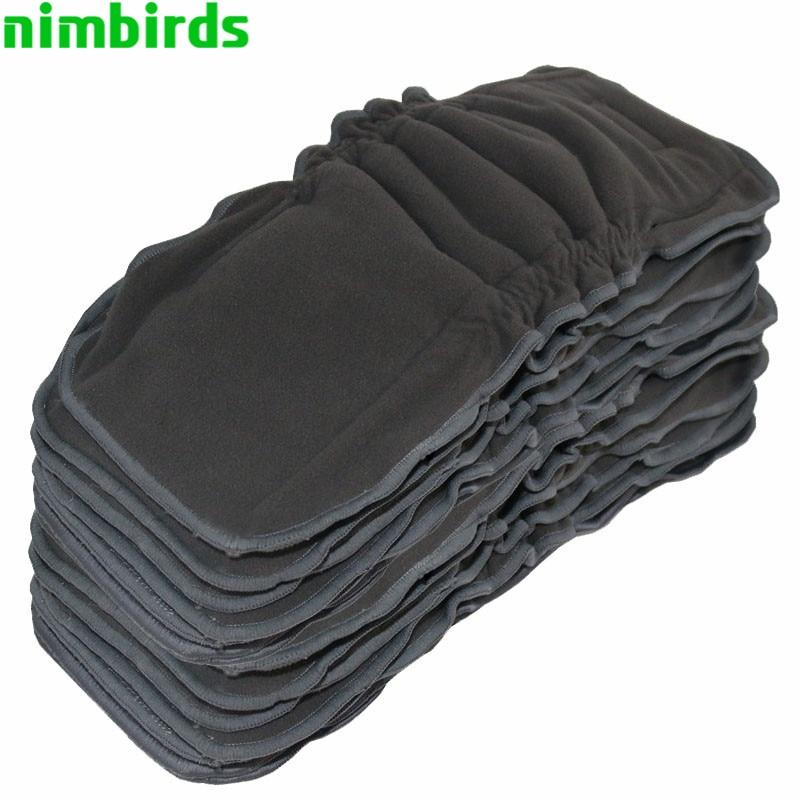Lavable, reutilizable, de bambú, inserto de carbón, doble pierna, escudete, paño, pañal, pañal, 5 capas, cada, carbón, inserto, para, bebé