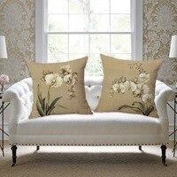 SewCrane Orquídea Flo ers Decorativa Throw Pillow Cojín Cubierta, 45 cm x 45 cm