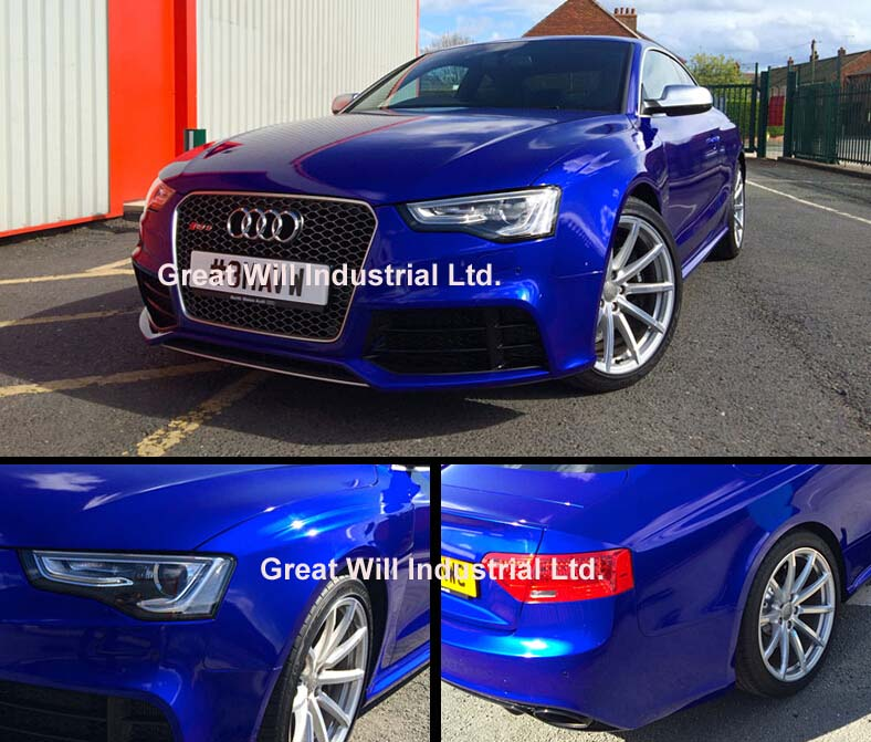 Candy Glossy Blue Vinyl Wrap Film With Air Bubble Free Shiny Gloss Candy Blue Car Wrap Covering Style Size 1.52x20m/Roll