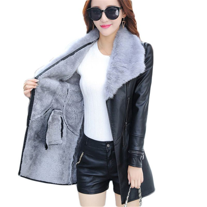 2018 Plus Size 3XL Winter Faux Fur Collar Women Long   Leather   Coat Outerwear Female   Suede   Sashes Casual Bow Motorcycle Jacket C34