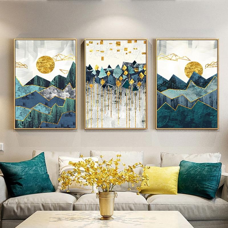 1 шт., абстрактная картина «горы» без рамки для гостиной