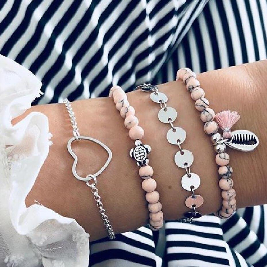 2019 Boho Charm Bracelets & Bangles Set Bohemian Vintage Beaded Multilayer Bracelets For Women Fashion Jewelry Wrap Accessories