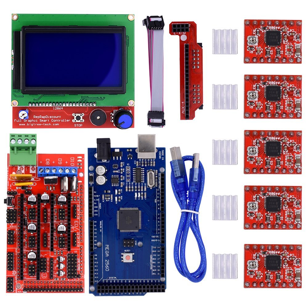 CNC 3D Printer Kit Mega 2560 R3 +Reprap RAMPS 1.4 Controller + LCD 12864 display +5pcs A4988 Stepper Driver control board lcd 12864 display controller module ramps 1 4 mega shield a4988 stepstick stepper motor driver with heat sink