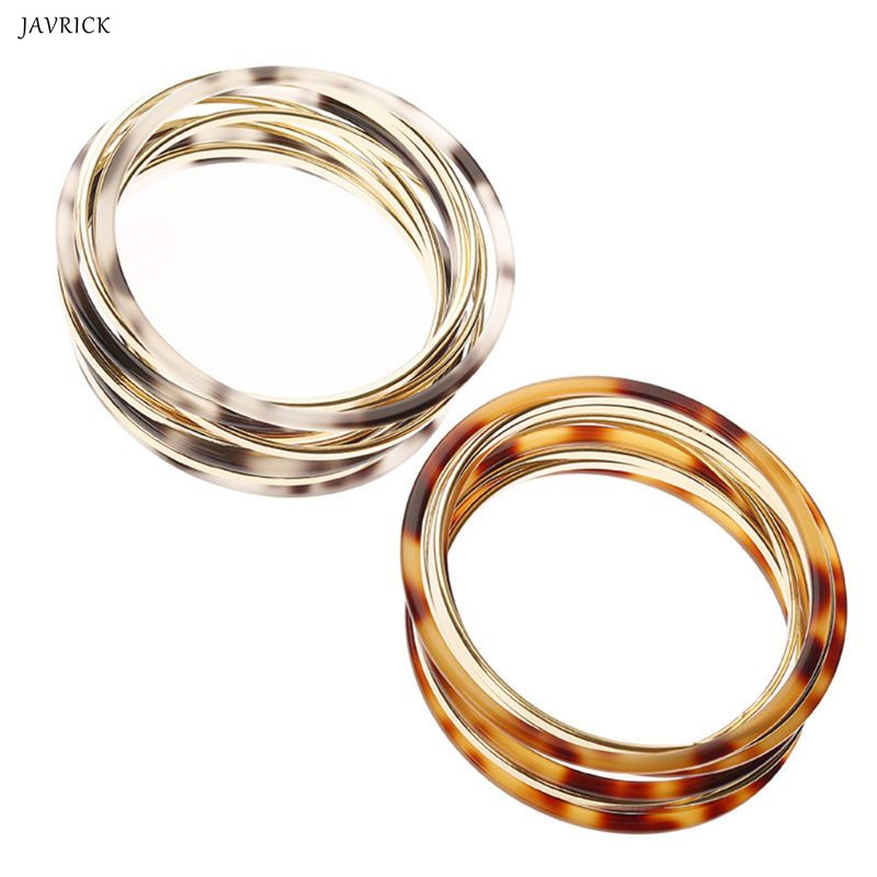 Round Bangle Acetate Resin Metal <font><b>Ring</b></font> <font><b>Bracelet</b></font> Women Jewelry Vintage Fashion Charms Multi-layer Decoration Lady Acrylic image