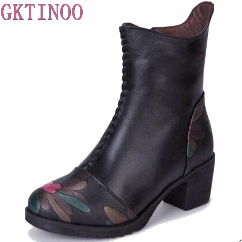 2017 Genuine Leather Shoes Women Ankle Boots Autumn Thick High Heel Martin Boots Zip Winter Handmade Leather Shoes Boot Black women led light shoes casual shoes led luminous boots unisex genuine leather ankle boots women usb charging martin boots 35 46