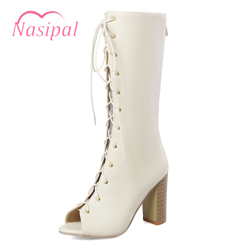 Nasipal Women Sandals 2018 Summer Chunky Sexy Mid-calf boots gladiator Sandals Fashion Designer Lace Up Casual Shoes Zipper C800