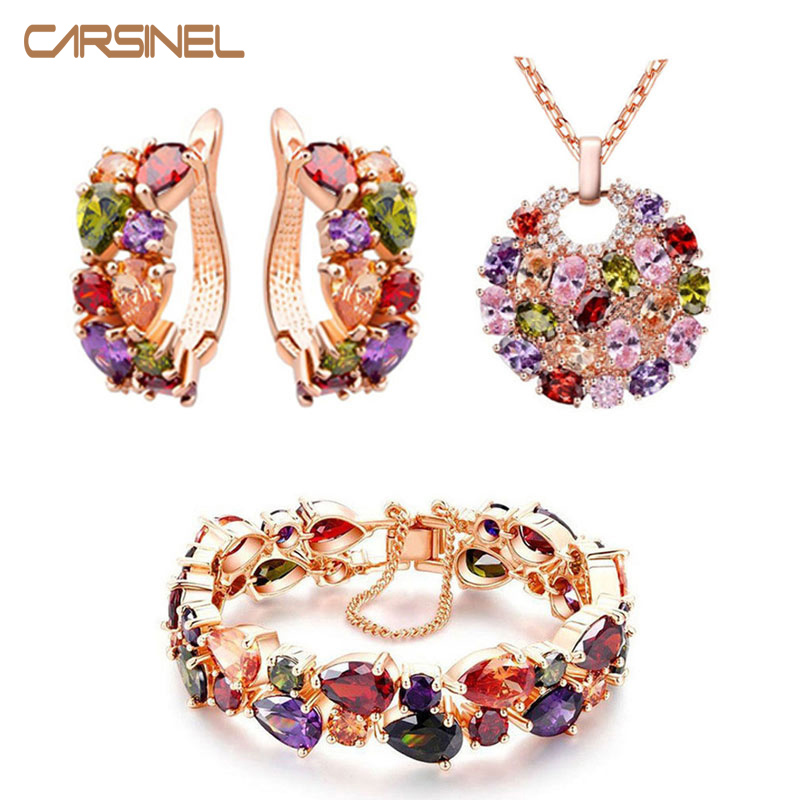 CARSINEL Necklace Bracelet Earring Fashion Jewelry Sets Rose Gold color with Shining CZ Zircon Accessories for