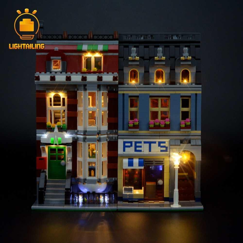 LIGHTAILING led ışık için makyaj seti yaratıcı Pet Shop süpermarket yapı taşı modeli aydınlatma seti ile uyumlu 10218 15009