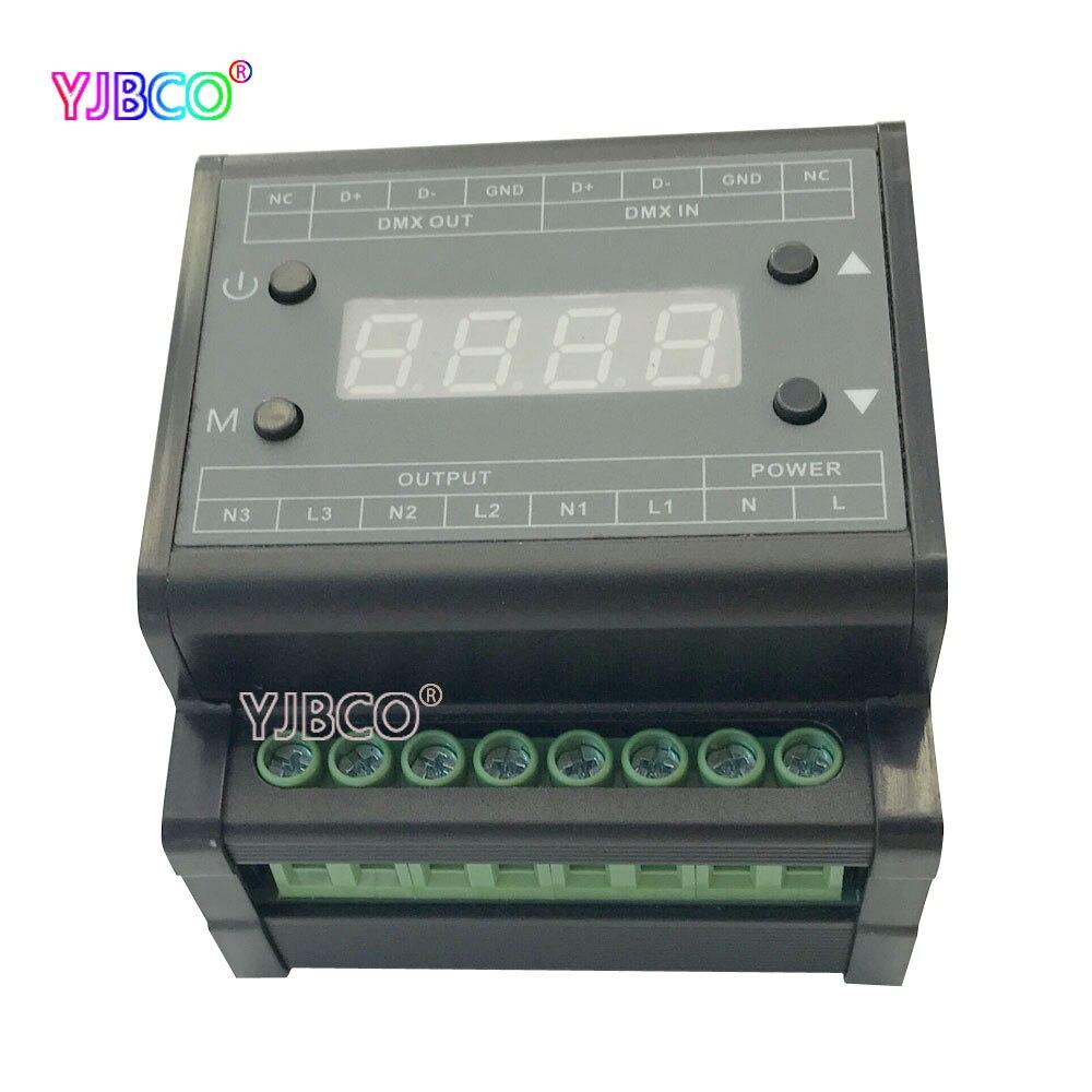DMX302 High Voltage DMX Triac Led Dimmer Brightness AC90V-240V  Output 3channels 1A/CH Led Panel Light Controller