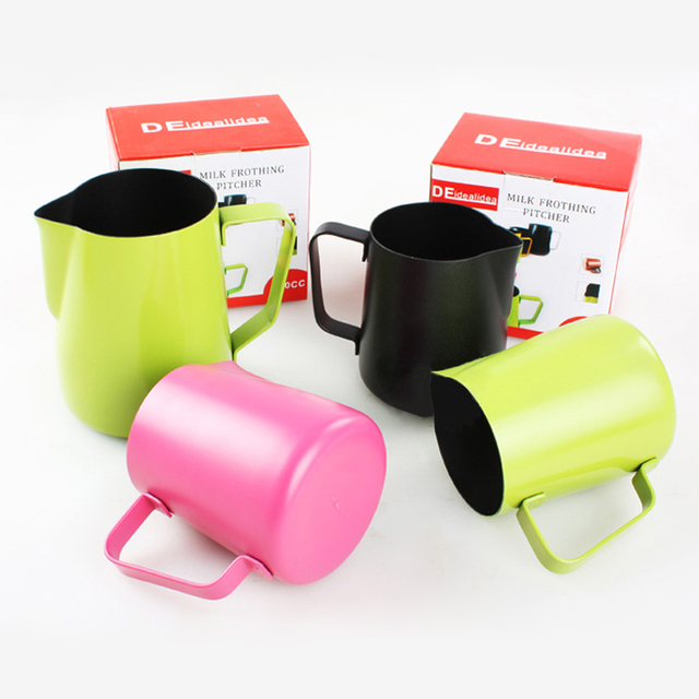 672daa44e1c US $15.62 7% OFF|350ML/600ML Thick Stainless Steel Coffee Espresso Frothing  Pitcher Milk Latte Art Jug Cup Pitcher 4 Colors Pink/Green/Black/Gold-in ...