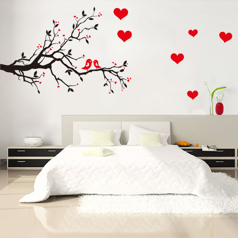 Love Bird Branch Tree Wall Stickers Living Room Wall Background Poster Romantic Home Decor For Wediing Decoration Decal