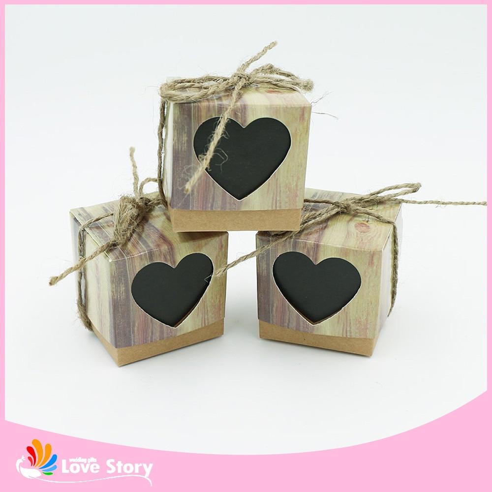 Buy 2016 New 50pcs Sweet Heart Love Rustic Kraft Wedding Fav